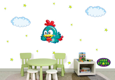 Wallabee Jade Stars Large Fabric Wall Decal - Rooster (Boy version)