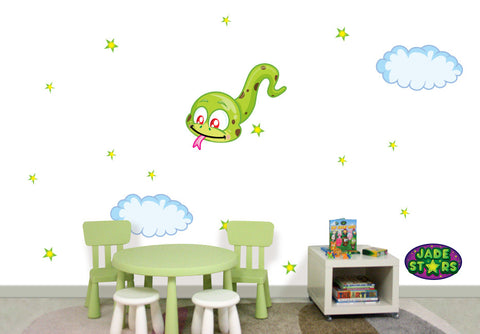 Wallabee Jade Stars Large Fabric Wall Decal - Snake (Boy version)