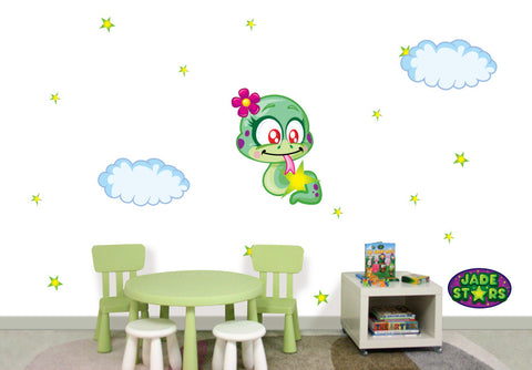 Wallabee Jade Stars Large Fabric Wall Decal - Snake (Girl version)
