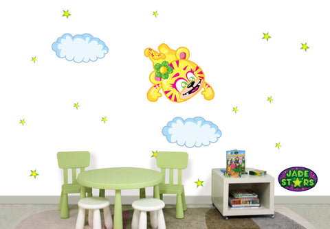 Wallabee Jade Stars Large Fabric Wall Decal - Tiger (Girl version)