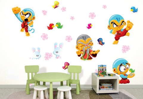 Wallabee Monkey Kung Fu Fabric Wall Decals