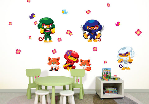 Wallabee Ninja Monkey Fabric Wall Decals