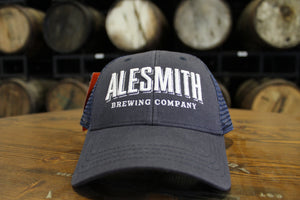 Navy Trucker Hat w/ White Embroidery - Alesmith Brewing Company