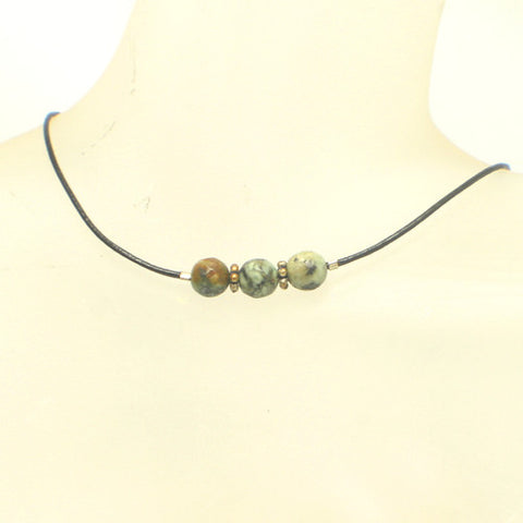 African Turquoise Leather Choker Necklace