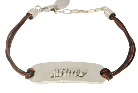 Leather Charm Bar Bracelet - Army
