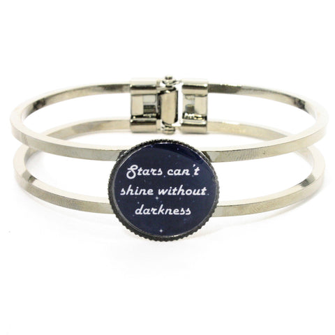 Inspirational Quote Cuff Bracelet - Star in Darkness