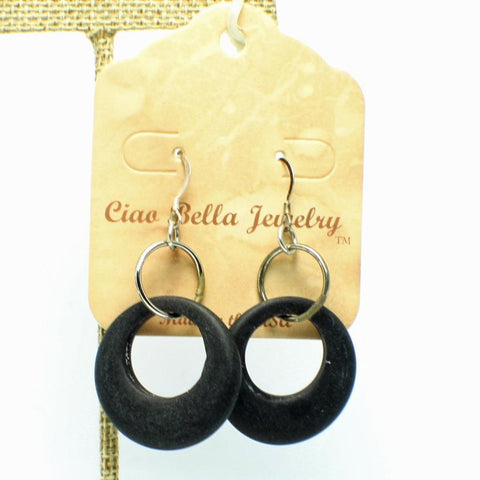 Black Sea Glass Large Hoop Earrings