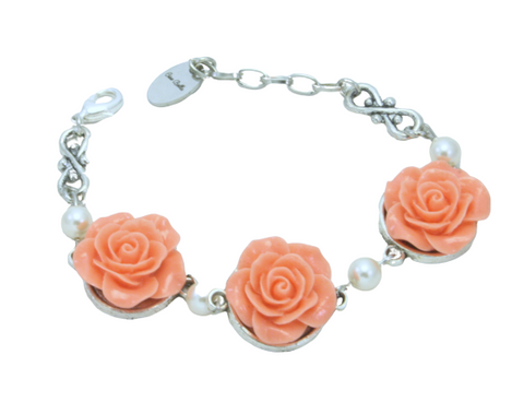 Vintage Rose Linked Bracelet - Assorted Colors
