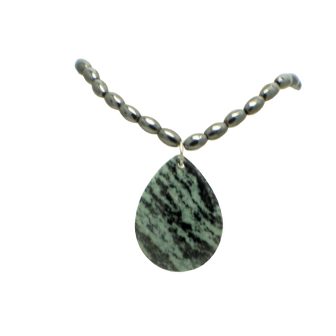 Jasper and Hematite Pendant Choker Necklace