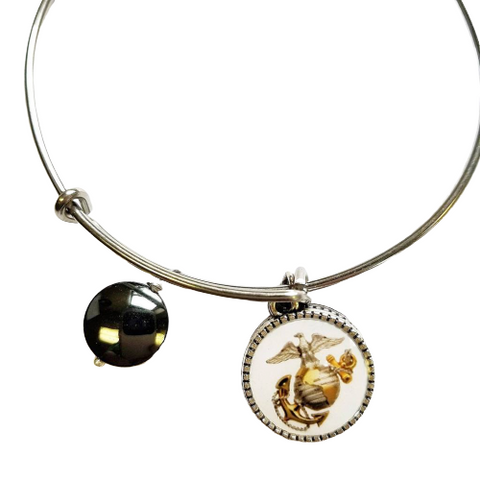 Marine Corp Eagle Globe Anchor Charm Bangle Bracelet Officially Licensed