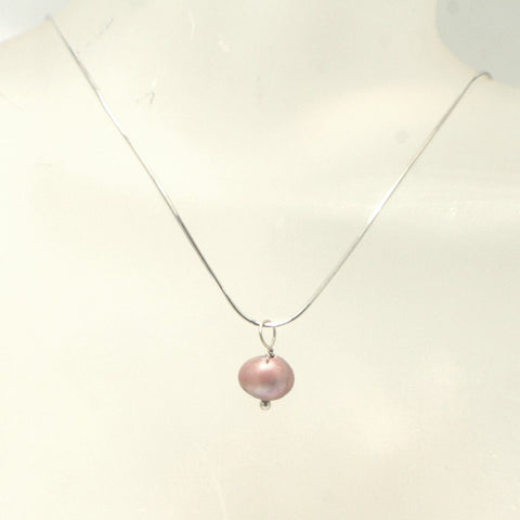 Single Freshwater Pearl Pendant on Sterling Silver Chain