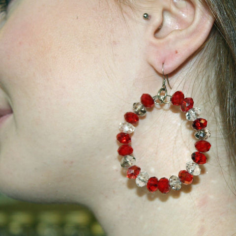 Red White and Silver Crystal Hoop Earrings