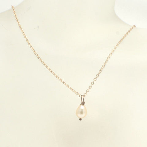 Single Pearl Pendant Necklace on Rose Gold Chain