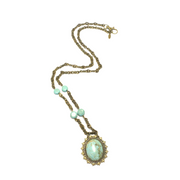 Turquoise and Brass Long Pendant Necklace