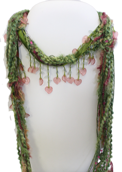 Lightweight Green Floral Beaded Scarf