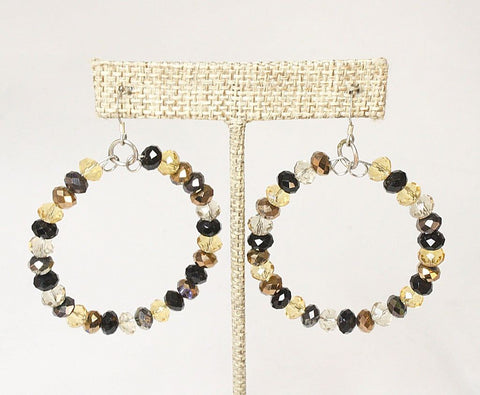 Black and Gold Large Crystal Hoop Earrings
