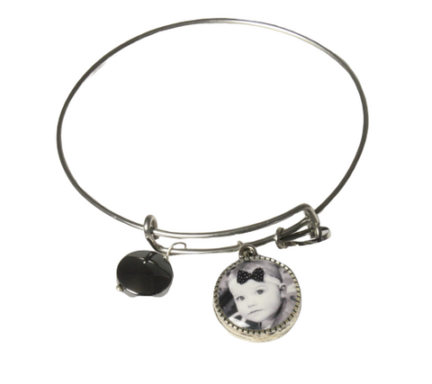Personalized Silver Bangle Bracelet with  double sided Photo Charm
