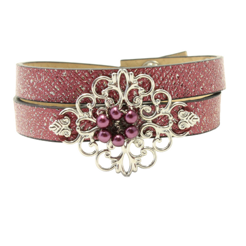 Vintage Filigree Wrap Leather Bracelets - Multiple colors
