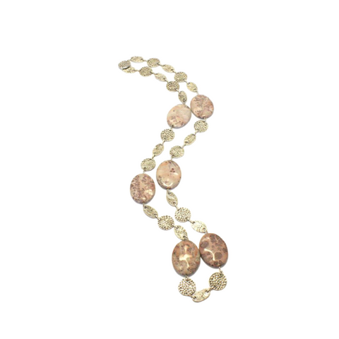 Long Jasper Hammered Circular Chain Necklace