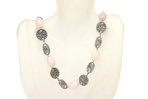 Long Rose Quartz Hammered Chain Necklace