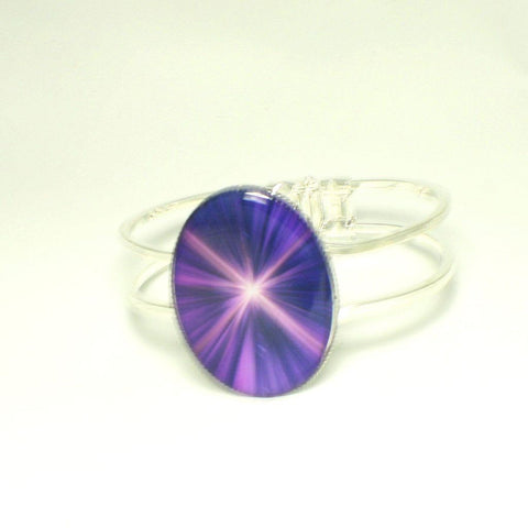 Silver Oval Cuff Bracelet with Purple Starburst