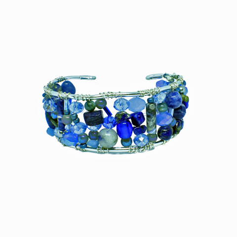 Shades of Blue Flexible Cuff Bracelet