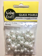 Load image into Gallery viewer, Glass Pearl Beads, 49 pieces, Assorted Size Bag