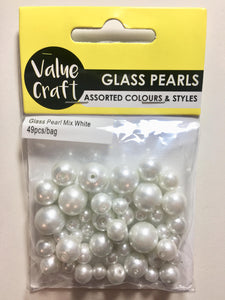 Glass Pearl Beads, 49 pieces, Assorted Size Bag