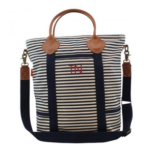 Monogram Navy Striped Travel Tote - Heart Melter - Personalized Gifts