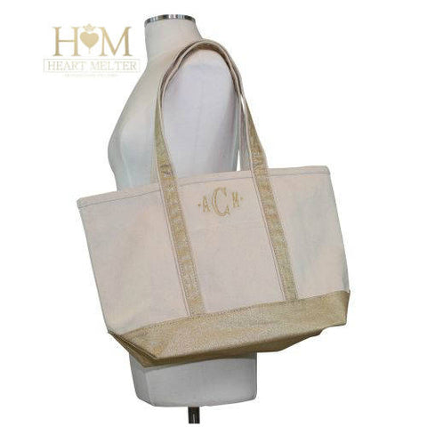 Metallic Gold Boat Medium Tote - Heart Melter - Personalized Gifts
