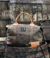 Waxed Canvas Duffel Bag - Olive & Brown