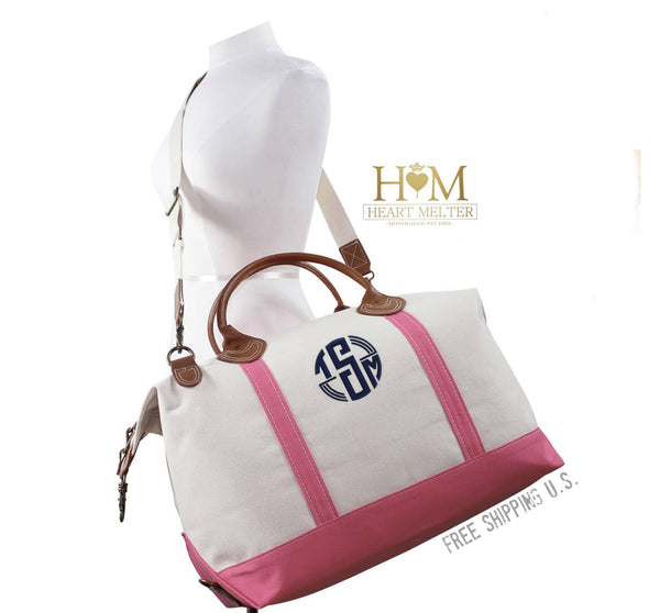 Monogrammed Classic Coral Pink Weekender Bag - Heart Melter - Personalized Gifts