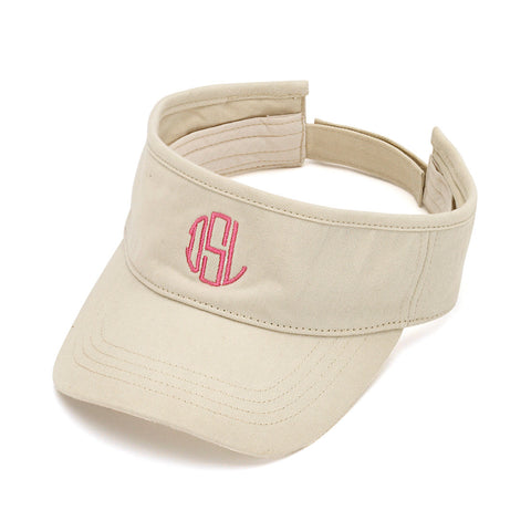 Monogrammed Tennis Khaki Visor - Heart Melter - Personalized Gifts