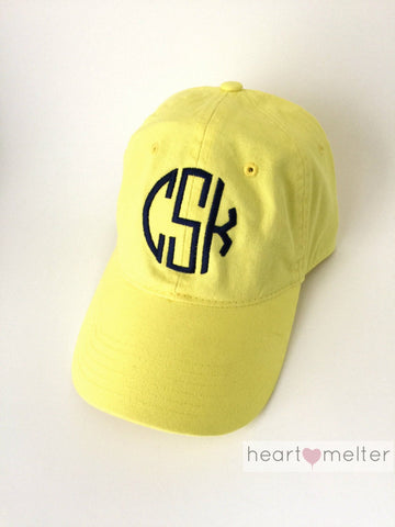 Yellow Monogrammed Hat - Heart Melter - Personalized Gifts