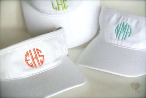White Monogrammed Visor - Personalized Visor - Heart Melter - Personalized Gifts