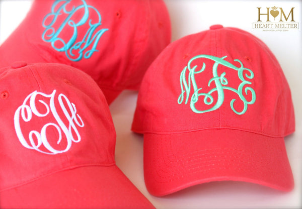 Coral Monogrammed Hat - Heart Melter - Personalized Gifts