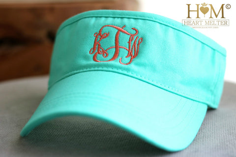 Monogrammed Mint Visor - Heart Melter - Personalized Gifts