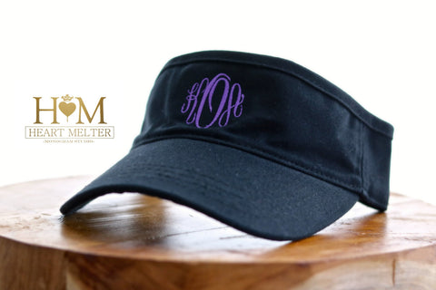 Monogrammed Black Visor - Heart Melter - Personalized Gifts