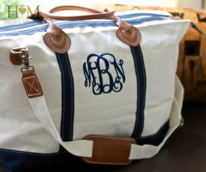 Monogrammed Classic Weekender Navy Bag - Heart Melter - Personalized Gifts