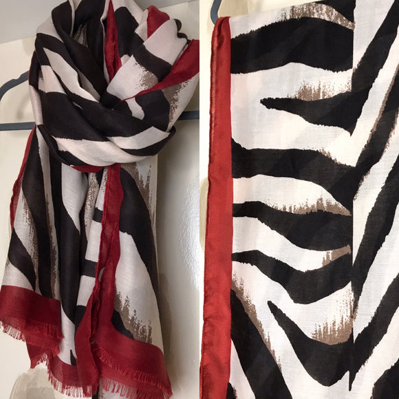 Zebra Abstract Print Mono Scarf