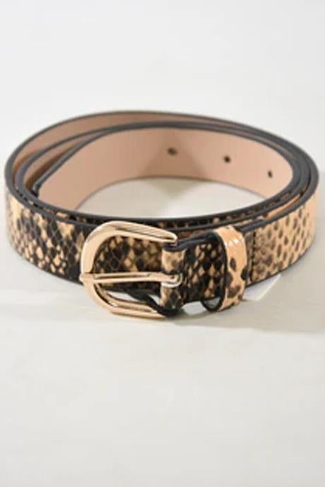 Snake Pring Leather belt ~ Natural