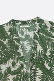 Kimono- Tropical Green Leaf Long