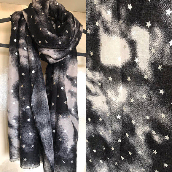 Black Star print scarf