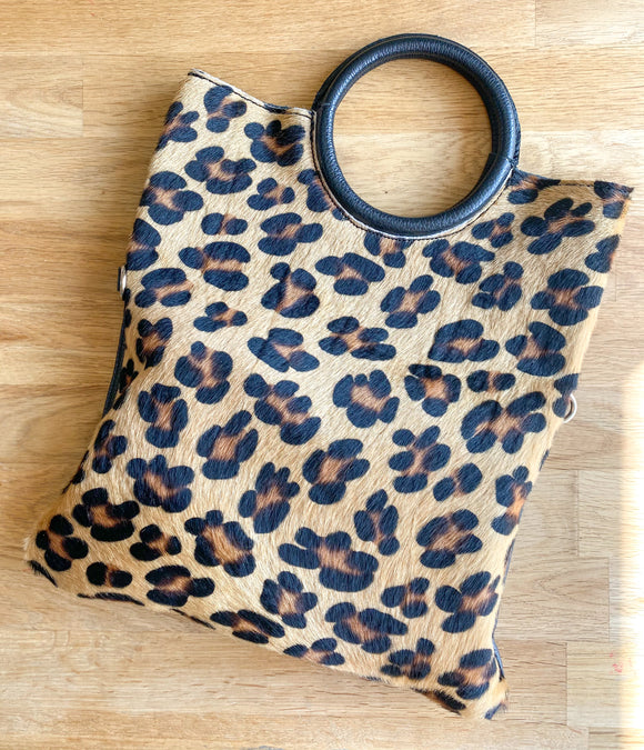 Leather Foldover Leopard bag