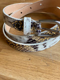 Leather Snake Print belt ~ Narrow