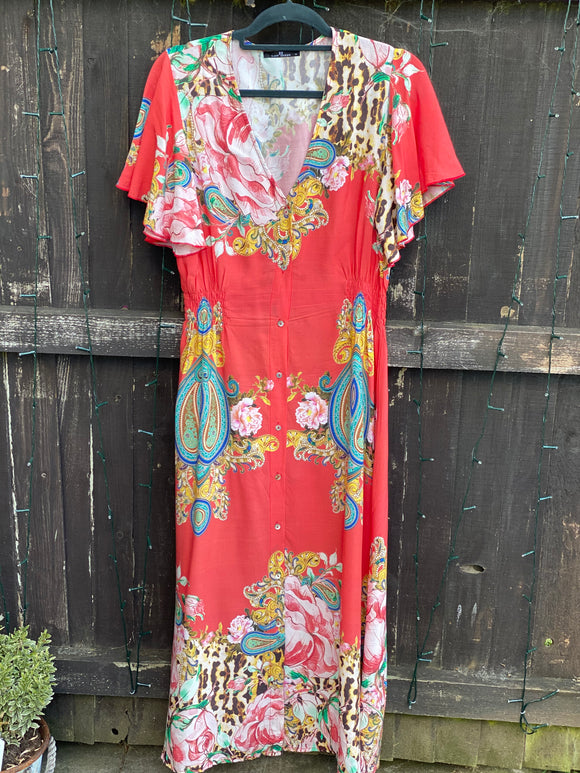 Coral Red Print Maxi Shirt dress