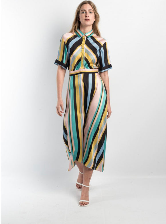 Geometric Stripe Midi Dress