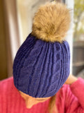 Simone Cable Sparkle Bobble Hat