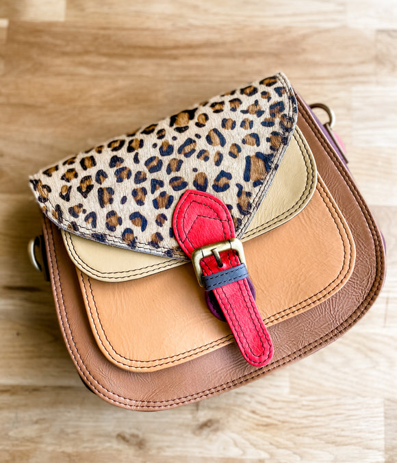 Animal Print 'Ruby' bag***Leopard Red buckle***