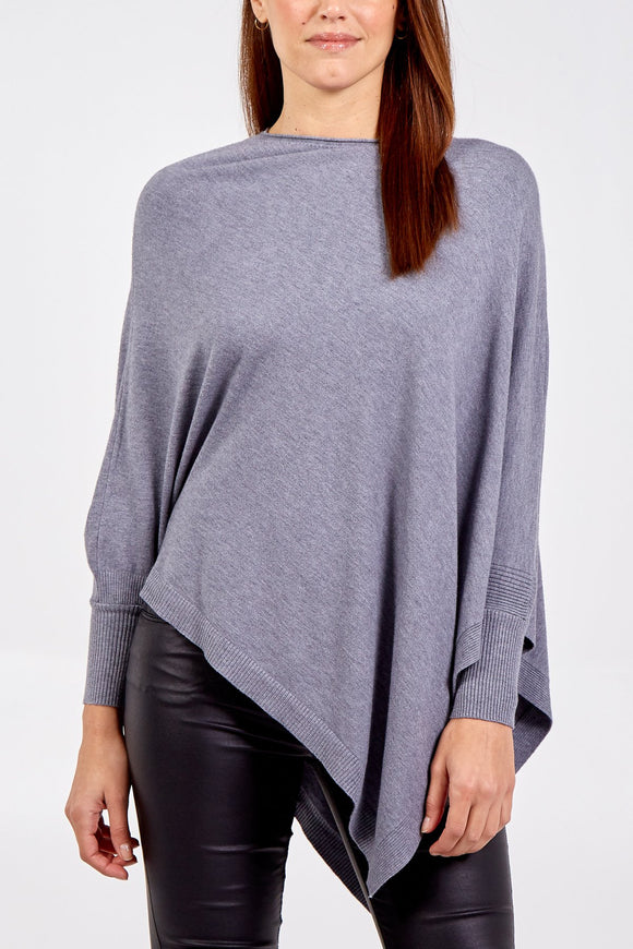Asymmetric Fine Knit Jumper